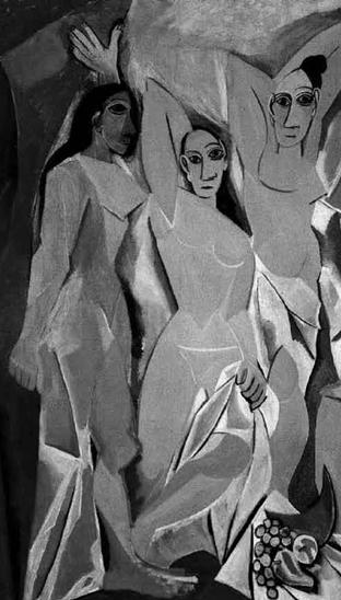 """Figura 7.6 - A fianco il dipinto di Pablo Picasso Les Demoiselles d'Avignon. Secondo Ramachandran, il cubismo è riuscito a legare profondamente il suo operato ai """"principi figurativi"""" della nostra grammatica neuro-percettiva."""